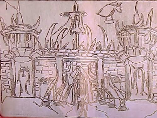 Puertas de Orgrimmar dibujadas en un Magic Etch a Sketch Screen