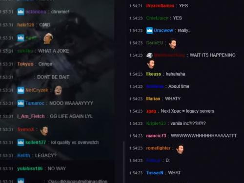 Curiosidades: Reacción en Twitch con el Anuncio de World of Warcraft Classic