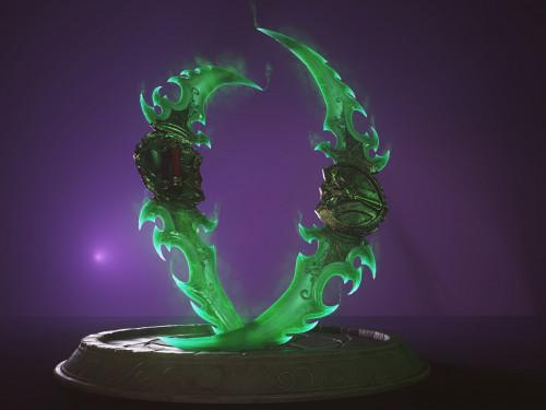 Modelos 3D de las Gujas de guerra de Azzinoth y Martillo Maldito creados e impresos