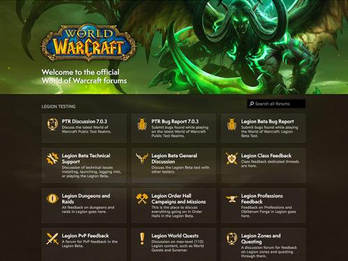 Vista previa del nuevo sitio de World of Warcraft