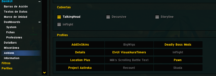 BENIKUI by ELVUI - Interfaz para Warcraft - Trabajando