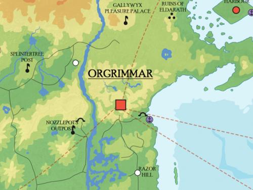 Mapa de Kalimdor, Reinos del Este, Pandaria, Rasganorte y Azeroth