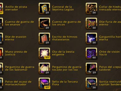 Reliquias de World of Warcraft: Características, niveles y bonificadores