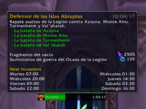 Addon: Legion Invasion Timer